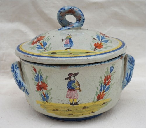 MALICORNE Lidded Tureen Casserole Faience 19th C