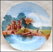 Limoges Porcelain Decorative Plate Castel Bridge J Pouyat 1900