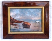Limoges Enamel Painting Fishing Small Boats Framed Signed