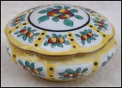 LIMOGES Trinket Candy Box Gilt Flowered Porcelain Signed