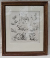 Jean Baptiste HUET Farm Animals Sheep Pastoral Ink Drawing 1801