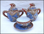 Japanese Dragonware Moriage Geish Lithopane Cup Tea Set