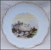 Paris Porcelain Richmond Castle Gilt Scalloped Plate Late 19th C