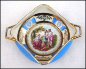 Grape Harvest Scene Blue Gilt Royal Epiag Czech Porcelain Dish