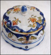 DESVRES Fourmaintraux Lidded Candy Box  Faience Late 19th C