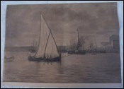 Genoa Harbor Sailing Boat Steamer E Dupras Drawing 1897