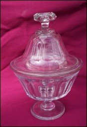 Cut Crystal Candy Sweet Footed Dish with Lid Portieux 19th C