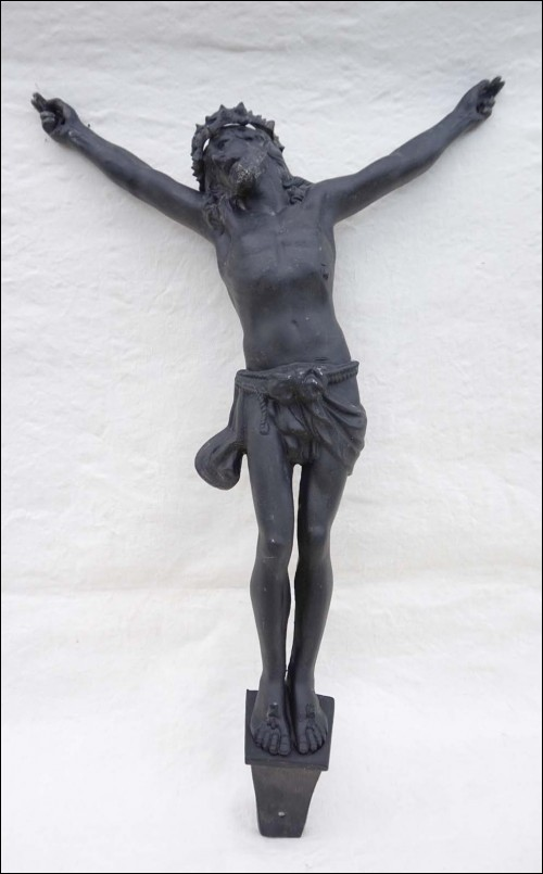 Antique Large Crowned Christ Corpus Black Patina Zinc Tin Signed