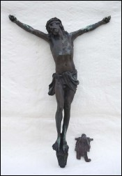 Antique Large 19 inchs Christ Corpus Bronze INRI J Rabiant 1900 B