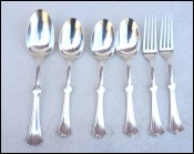 CHRISTOFLE Lotus Desert Spoon Fork Set Mono Jane Silverplate