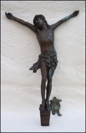 Antique Large 19 ¾ inchs Christ Corpus Bronze INRI A Dubois 1900 A