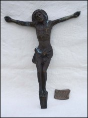 Antique French Christ Corpus Bronze A Dubois INRI 1900