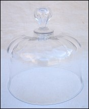 Blown Cut Crystal Cake Pastry Dome Lid Bell Shape Ø 6 1/4