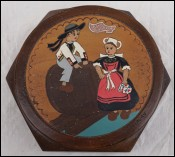 Breton Child Pyrography Wooden Trinket Candy Box Quimper