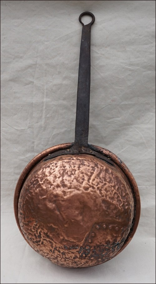 Antique Tined Copper Zabaglione Pan Wrought Iron Handle 19th C