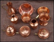 Copper Kitchenware Cookware Minature for Doll House 10 pcs