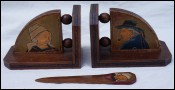 Breton Pyrography Art Bookends Letter Opener Quimper
