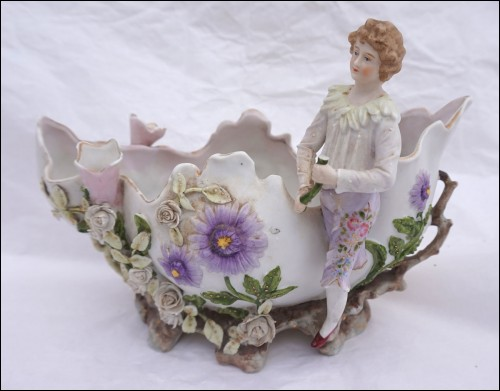 Romantic Gardener Jardiniere Planter Flowered German Porcelain 19th C