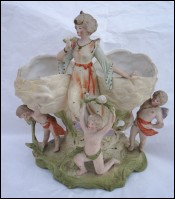 Cherub Putti Roses Lady Jardiniere Planter Gilt Bisque Porcelain 1900
