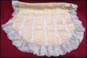 Lace Moire Silk Cream Bedspread Coverlet Baby Cradle 1900