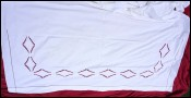 Embroidered Bed Sheet Mono JD White Metis Cotton 108 x 78 3/4