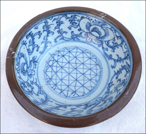 Batavian Bowl Qing Period Late 19th C for Repair