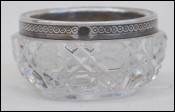 Baccarat Cut Crystal Sterling Silver Salt Cellar B Late 19th C