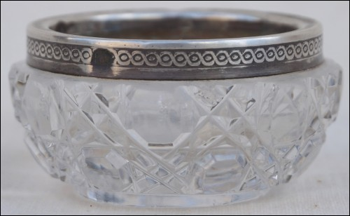 Baccarat Cut Crystal Sterling Silver Salt Cellar Late 19th C