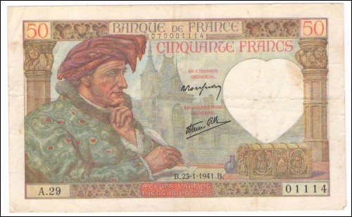 1941 Billet France 50 Francs Jacques Coeur A.29 1941