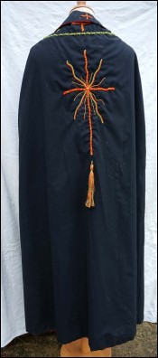 Gothic Cape with Stole Black Red Linen Colored Embroidery