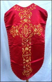 Gold Embroidery Cross Red Silk Chasuble