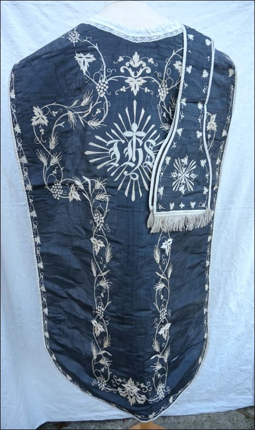 Chasuble and Stole Black Silk with White Embroidery IHS