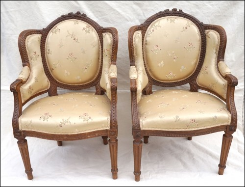 Pair Child Bergere Louis XVI Style Carved Wood Flowers 19th C