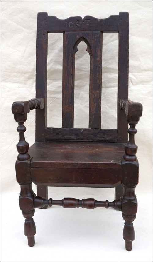 Gothic Revival Child Armchair Throne Turned Wood Early 18th C
