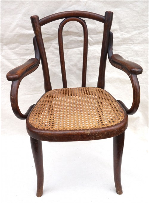 Art Nouveau Child Arm Chair Model 18 Thonet Bentwood Cane Seat