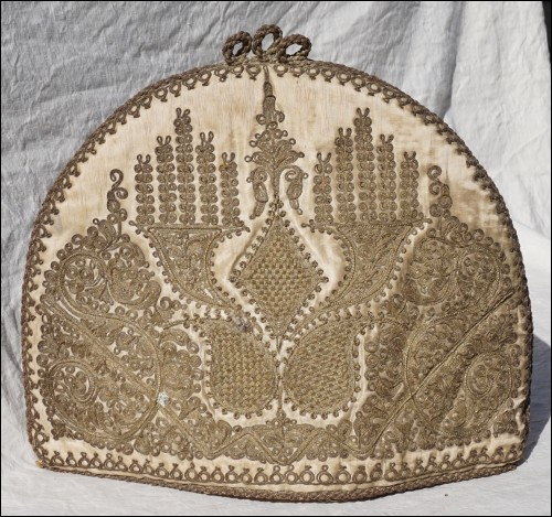 Jewish Art Antique Tea Cozy Cohanim Birkat Gold Embroidery