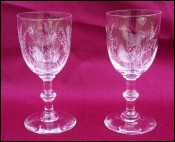 Etched Crystal Stemware Pair Cherry Corial Glass Floral Pattern