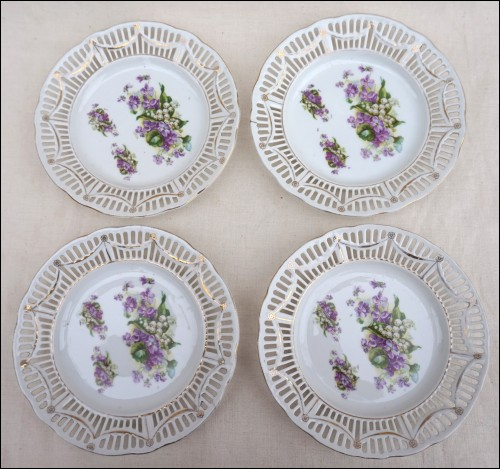 Lily of the Valley Violet Flowers Transferware 4 Dessert Bread Plates