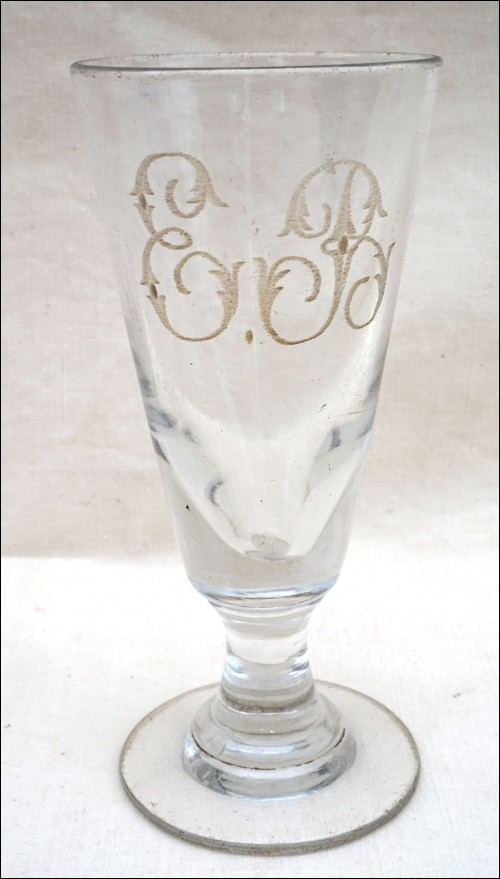 Antique Absinthe Glass Engraved Blown Glass Mono EB 19th C