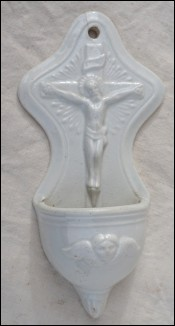 Christ Crucifix Holy Water Font Faience 1880
