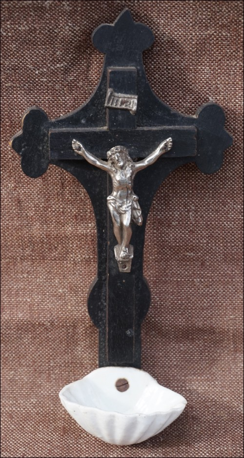 Crucifix Holy Water Font Christ Silvered Spelter Bronze