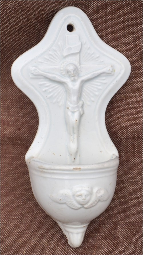 Christ Crucifix Holy Water Font Faience 1880 A
