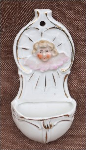 Angel Cherub Holy Water Font Porcelain Biscuit 1850