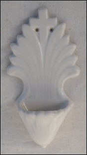 HB Quimper Art Deco Wall Holy Water Font White Faience