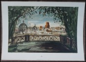 Roma Panorama from Palatin French Pierre Laprade Original Lithograph
