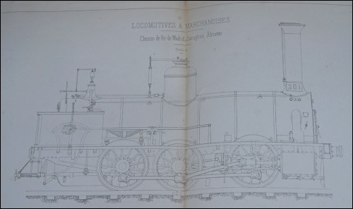 Steam Locomotive n°201 Schneider Spain Railways  Lithograph 1860