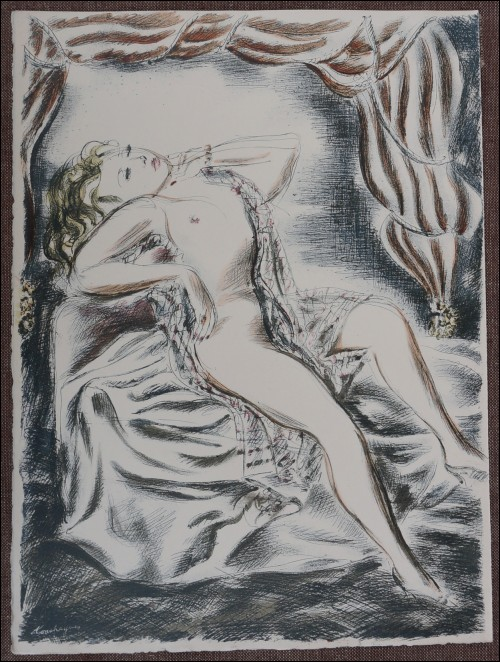 Louis Touchagues Nude Original Lithograph Signed  1948  A