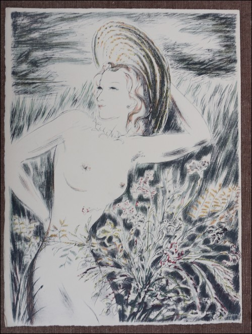 Louis Touchagues Nude Original Lithograph Signed  1948  C