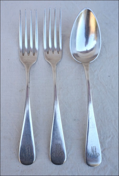 Silverplate 2 Dinner Forks 1 Spoon Mono MA Dax Pattern