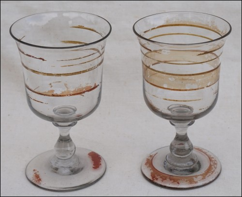 Antique Art Glass Enameled Wine Water Footed Goblet Tulip Glass Pair 19th C